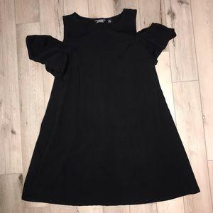 Lands End Black Cold Shoulder Casual Dress